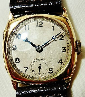 Gents 9ct Gold 1931 Cartier case Cyma 216 movt Swiss Watch Serviced+warranty