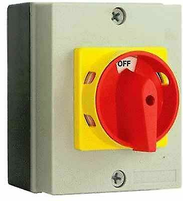 20 Amp Isolator Switch 4 Pole Rotary EN 60947 Compliant IP65 20mm Knock out