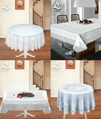 New Traditional Dining Party Vinyl Table Cloth Luxury PVC Wipe Clean Printed