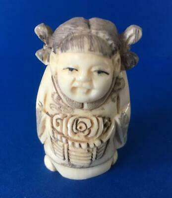 Netsuke Bovine Bone Hand Carved Woman With A Basket Well  Decorated  Uk Seller