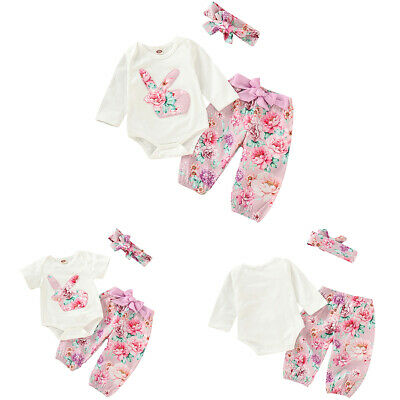 61c0dd50a420 Newborn Baby Girls Easter Outfit Floral Bunny Romper Pants Headband  Bodysuit Set