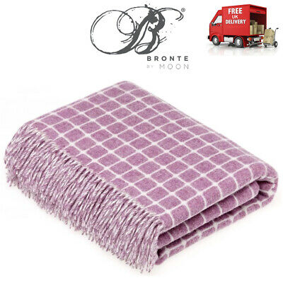 Bronte Athens Lilac Check Pure Soft Merino Lambswool Wool Blanket Throw Moon