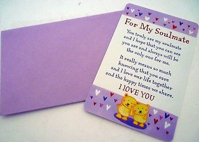 """Heartwarmer Keepsake Message Card """"for My Soulmate""""! With Inspirational Verse!"""