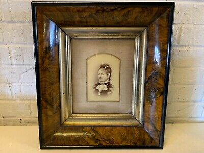 Antique Portrait of Woman with Victorian Aesthetic Eastlake Design Walnut Frame