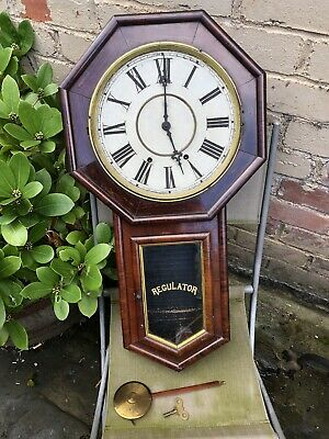 Antique Waterbury Rosewood Schoolhouse Drop Wall Clock Refurb Project No Glass