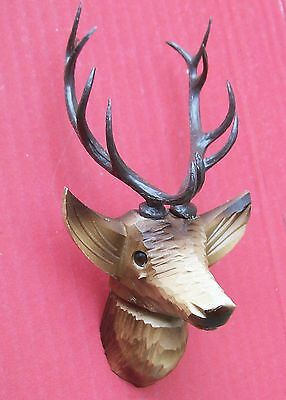 Stags head, hand carved for the ( Medium size ) hunter style cuckoo clocks.