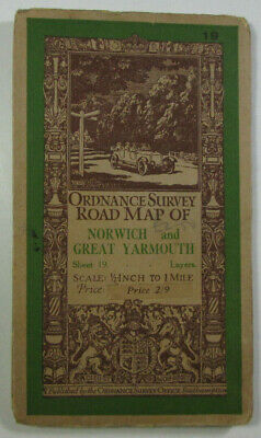 1928 Old Vintage OS Ordnance Survey Half-Inch Map 19 Norwich Great Yarmouth
