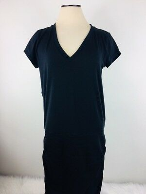 46195e084db Athleta Womens Black Ruched V-Neck Tee Shirt Topanga Dress Size Medium B207
