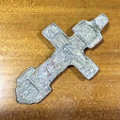 Medieval Cross Pendant Byzantine Russian Artifact Calvary Orthodox Jesus Old A