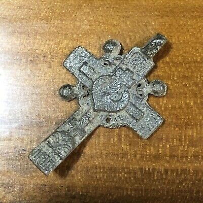 Medieval Cross Pendant Byzantine Russian Artifact Calvary Orthodox Jesus Old B