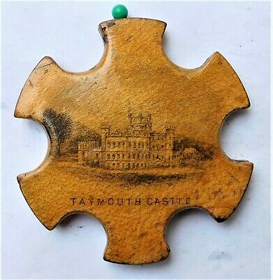 NO RSERV c1890 Mauchline Ware Pin Wheel Cushion Thread Winder Vintage Scottish