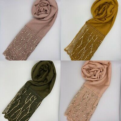 Plain Gold Lace Pearl Scarf Hijab Sarong Large Cotton Maxi Shawl Wrap Maxi