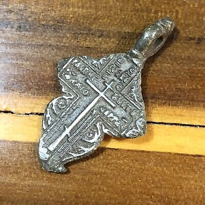 Medieval Cross Pendant Byzantine Russian Artifact Calvary Orthodox Jesus Old G