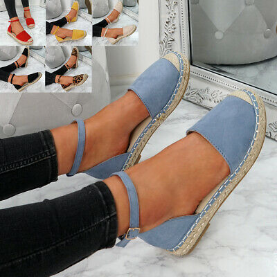 Womens Ladies Ankle Strap Espadrille Ballerinas Flats Summer Casual Shoes