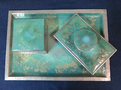 Vintage Arts & Crafts Enamel/Pewter Desk Set