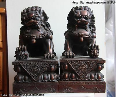 Chinese Palace Pure Bronze Copper Feng Shui Guardian Fu Foo Dog Lion Pair Statue
