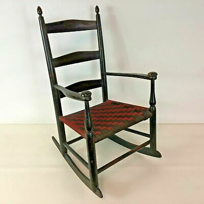 Antique Child Size Mt Lebanon Shaker Rocker #0 with Red & Black Woven Seat