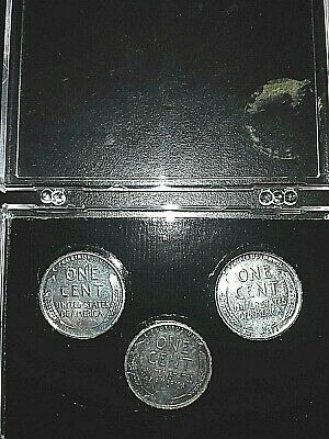 1943 P D S BU Lincoln Steel cents Wartime emergency issue case