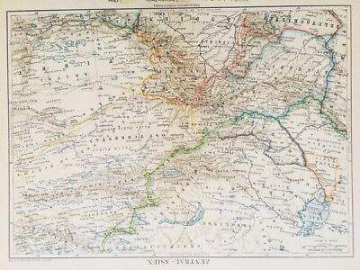 1895 Antique Atlas Map of Central Asia in German Language - Topographic, Color