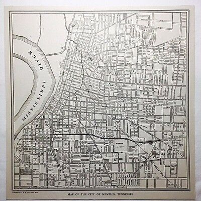 Early 20th Cent Antique Map of MEMPHIS, Tennessee Black and White From Atlas OLD
