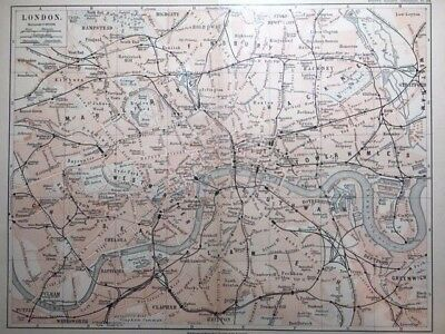 1895 Street MAP OF LONDON England (In German)- Color, Roads, Railroad, Trains ++
