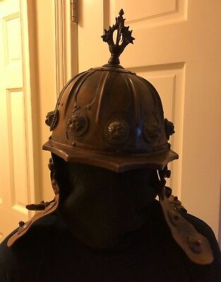 Mongol Copper and Leather Helmet