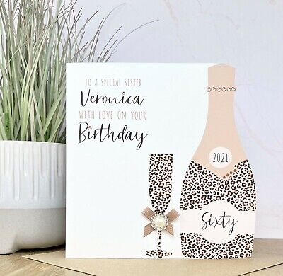 Personalised Handmade 18th 21st 30th 40th Birthday Card Mum Sister