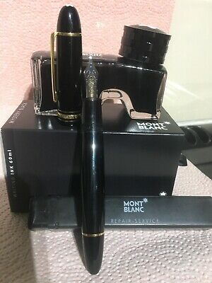 Mont Blanc Meisterstuck 149 Fountain Pen 18K medium nib 4810 + 60ml New Ink
