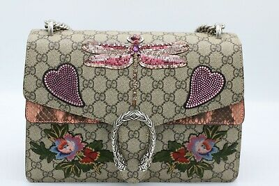 31a9a0b206b Gucci Sequins Dragonfly and Heart Embroidered Dionysus Leather Bag - 450527