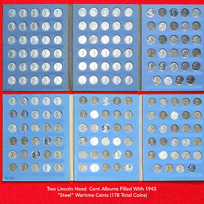 Lincoln Cent Albums Filled 1943 Steel Wartime Cents (2 Albums) 178 Total Coins