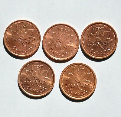 2001-2006 Canada 1 Cent Coins, NON-MAGNETIC, Elizabeth II, (LOT OF 5), Lot A621