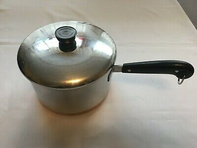 Revere Ware 4 Quart Pre 1968 Copper Bottom Stainless Steel Pot With