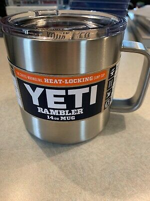 5db42fb1832 New YETI Rambler 14 oz Stainless Steel Vacuum Insulated Mug with Lid- Silver