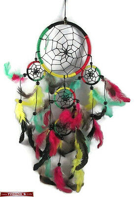 """4.5"""" Multi-Color Dream Catcher With Beads & Feathers Wall Hanging Decoration #06"""