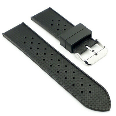 Tropic Style Watch Strap Band - Clasic Black Diver Replacement Silicone Rubber