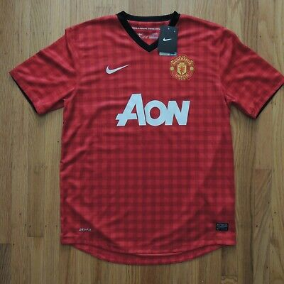 73d111999 Manchester United Jersey Nike Dri Fit Red Short Sleeve Mens Size Large NEW