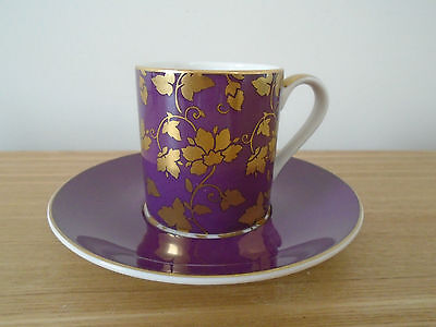 M & S (02733)  Purple & Gold  Super Fine China Coffee Cup/Demitasse & Saucer