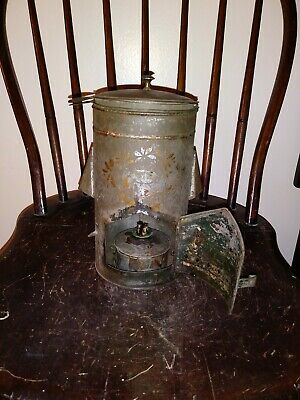 ANTIQUE TOLE DECORATED Tin Civil War Era Campfire Cooking Lantern Vessel  1800s
