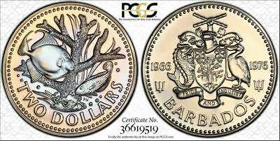 1976-Fm Barbados Two Dollars Pcgs Pl67 Color Toned High Grade One Graded Higher
