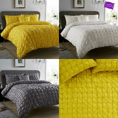 Pleated Pintuck Luxury Duvet Cover/Quilt Cover Set Bedding Grey/White/Ochre