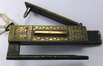 UNUSUAL ANTIQUE INDIAN/CHINESE ENGRAVED BRASS & STEEL LOCK with 2 KEY SYSTEM