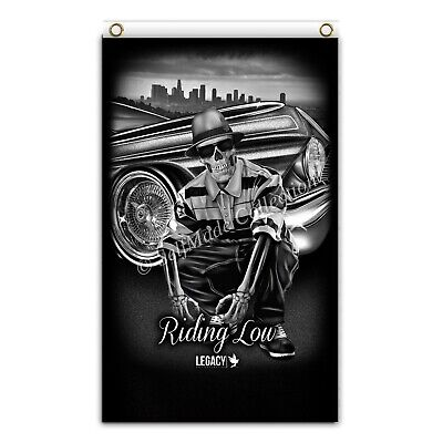 Riding Low 3ftx5ft flag banner lowrider chicano skull family poster amazing art