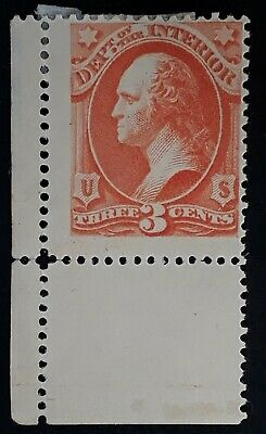 RARE 1873- United States 3c vermilion Department of Interior Washington stamp