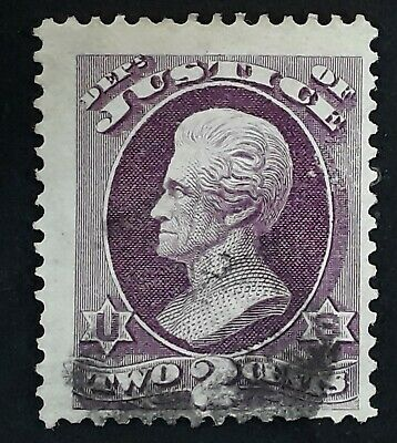 RARE 1873- United States 2c purple Department of Justice Jackson stamp Used