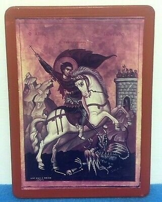 Greek Orthodox Wooden Plaque Icon Wall Art George Slaying Dragon Religious