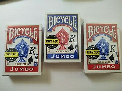 Bicycle JUMBO Playing Cards (2-Pack) Red & Blue - NEW