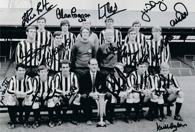 Multi Signed Newcastle United 1969 Fairs Cup Squad Autograph Photo + Proof