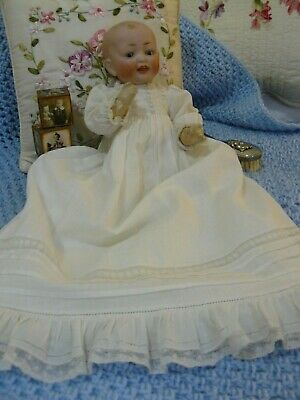 ANTIQUE CHARACTER BABY DOLL in ORIGINAL CHRISTENING GOWN!!!