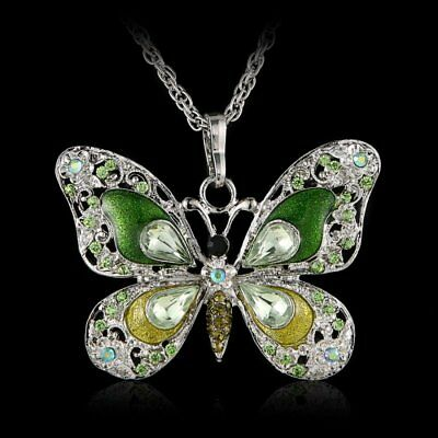 Butterfly Animal Crystal Pendant Necklace Long Chain Women Jewelry New Year Gift