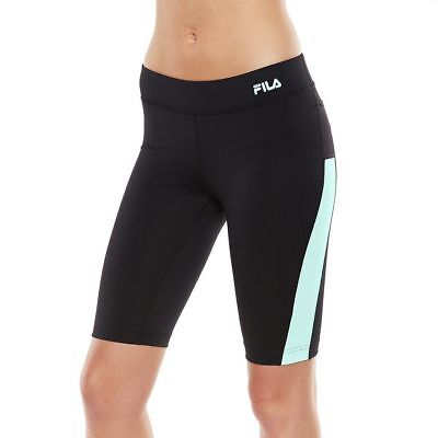 7bf3ca0990b9 FILA SPORT Women s Black Aqua Blue Strength Workout Bermuda - Size XS NWT